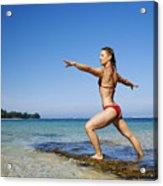Woman Doing Yoga Acrylic Print by Kicka Witte - Printscapes