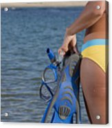 Woman Getting Ready To Go Snorkeling Acrylic Print