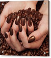 Woman Holding Coffee Beans In Her Hands Acrylic Print