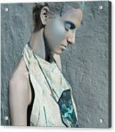 Woman In Ash And Blue Body Paint Acrylic Print