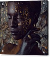 Woman In Splattered Golden Facial Paint Acrylic Print