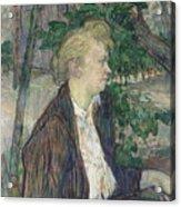 Woman Seated In A Garden Acrylic Print