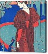 Woman With Peacocks Acrylic Print