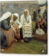 Women Outside The Church At Ruokolahti Acrylic Print