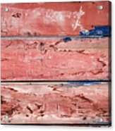 Wood Background With Faded Red Paint Acrylic Print