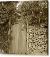 Wood Gate In A Wall Of Stones Acrylic Print