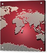 World Map In Red Acrylic Print by Michael Tompsett