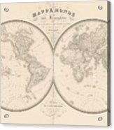 World Map In Two Hemispheres Acrylic Print