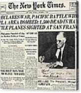 World War II: Headline, 1941 Acrylic Print