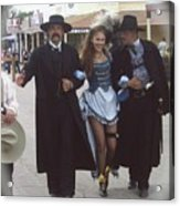 Wyatt Earp  Doc Holiday Escort  Woman  With O.k. Corral In  Background 2004 Acrylic Print