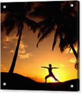 Yoga At Sunset Acrylic Print