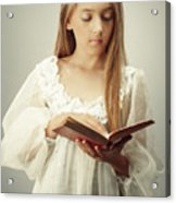 Young Girl Reading A Book Acrylic Print