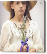 Young Girl With Lavender Acrylic Print
