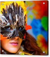 Young Woman With A Colorful Feather Carnival Face Mask On Bright Colorful Background Eye Contact Acrylic Print