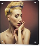 Young Woman With Glittered Fingers And Lips Acrylic Print