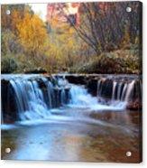 Zion Autumn Foliage Waterfall Acrylic Print