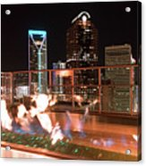 Charlotte North Carolina Skyline View At Night From Roof Top Res Acrylic Print