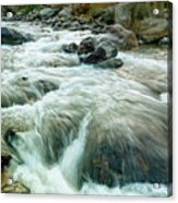 River Water Flowing Through Rocks At Dawn Acrylic Print