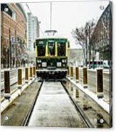 Streetcar Waiting For Passengers In Snowstrom In Uptown Charlott Acrylic Print