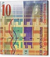 10 Swiss Franc Bill Acrylic Print