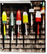 11 Buoys In A Row Acrylic Print by Thomas Schoeller