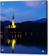 Dusk Over Lake Bled Acrylic Print
