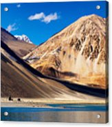 Mountains Pangong Tso Lake Leh Ladakh Jammu And Kashmir India Acrylic Print