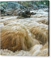 River Water Flowing Through Rocks At Dawn Acrylic Print