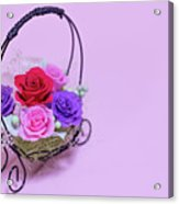 A Gift Of Preservrd Flower And Clay Flower Arrangement, Colorful Acrylic Print