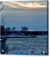 Sunset Over Obear Park In Snow Acrylic Print