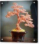 #129 Copper Wire Tree Sculpture Acrylic Print
