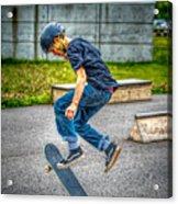 skate park day, Skateboarder Boy In Skate Park, Scooter Boy, In, Skate Park Acrylic Print