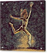 1307s-dancer Leap Fit Black Woman Bare And Free Acrylic Print