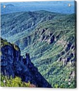 Hawksbill Mountain At Linville Gorge With Table Rock Mountain La Acrylic Print