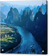 Karst Mountains And Lijiang River Scenery Acrylic Print