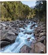 Slow Shutter Photo Of Figarella River At Bonifatu In Corsica Acrylic Print