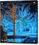 Christmas Season Decorations And Lights At Gardens Acrylic Print