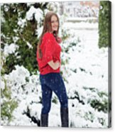 Beautiful Young Girl Model In Winter In A Parked Park. In A Red Sweater. Acrylic Print