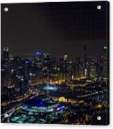 Chicago Night Skyline Aerial Photo Acrylic Print