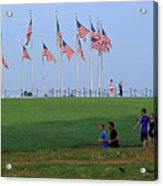17 Flags 7 People 1 Tree Trunk Acrylic Print