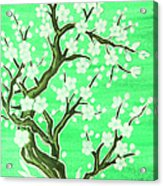 White Tree In Blossom, Painting Acrylic Print
