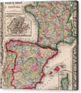 1800s France, Spain And Portugal County Map Color Acrylic Print
