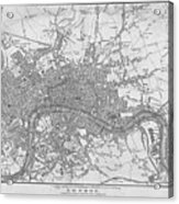 1800s London Map Black And White London England Acrylic Print