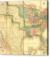 1839 Map Showing Us-mexican Boundary Acrylic Print by Everett