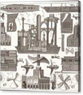 1850 Construction Of Steam Ship Acrylic Print