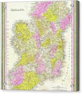 1850 Vintage Map Of Ireland Acrylic Print
