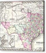 1855 Texas Map Acrylic Print