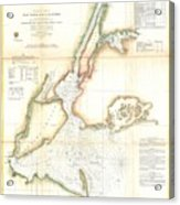 1857 Coast Survey Map Of New York City And Harbor Acrylic Print