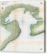 1857  Coast Survey Map Of St. Louis Bay And Shieldsboro Harbor, Mississippi  Acrylic Print