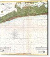 1857 U.s. Coast Survey Map Or Chart Of Mississippi City Harbor, Mississippi Acrylic Print